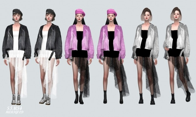 Sims 4 Asymmetric Mini Dress With Leather Jacket at Marigold