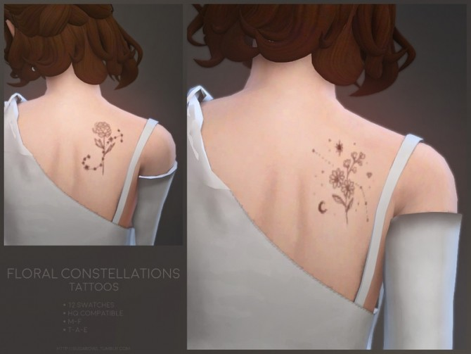 Floral Constellations tattoos by sugar owl at TSR image 9105 670x503 Sims 4 Updates