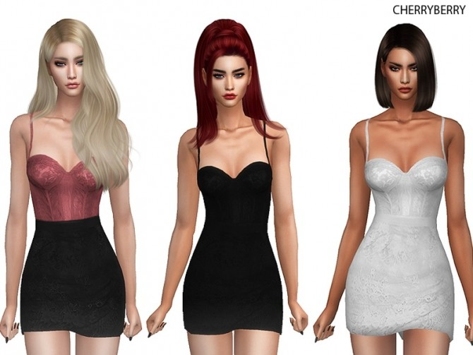 Sims 4 Lace Mini Dress at Cherryberry