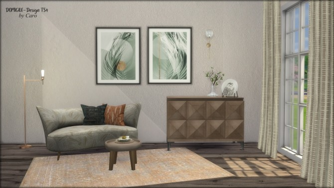 Loveseat, console, plate, curtains & paintings at DOMICILE Design TS4 image 9523 670x377 Sims 4 Updates