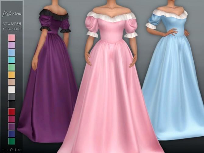 Sims 4 Katarina Dress by Sifix at TSR