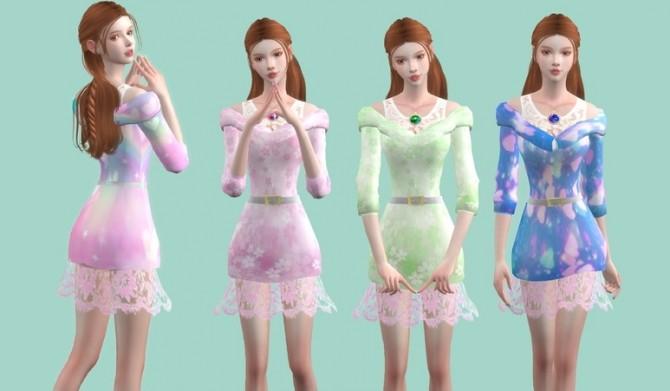 Sims 4 Romantic lace dress at Simjigi