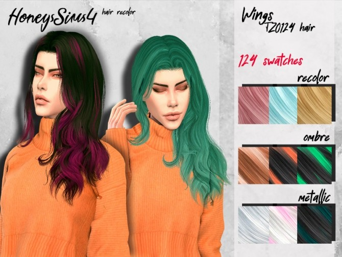 Sims 4 Female hair recolor Wings TZ0124 by HoneysSims4 at TSR