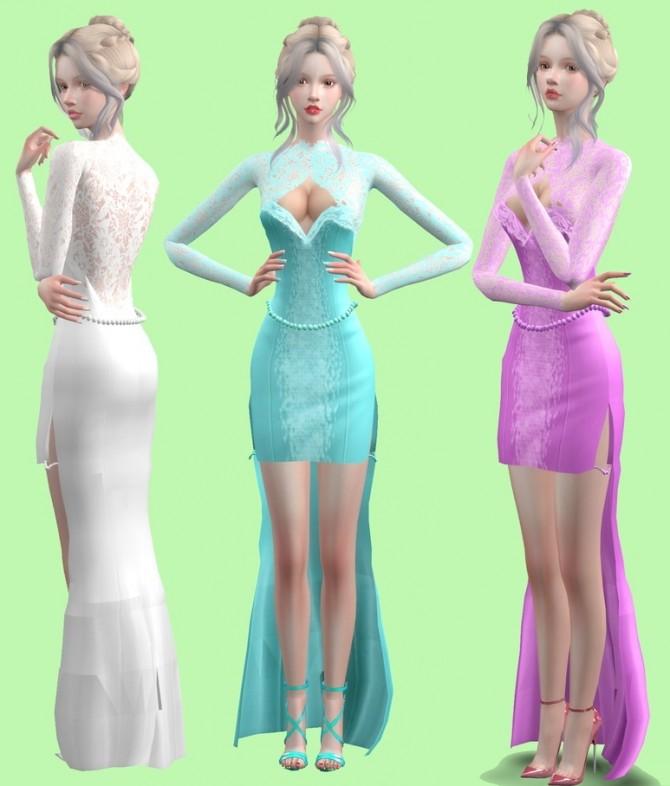 Sims 4 Reverse lace dress at Simjigi