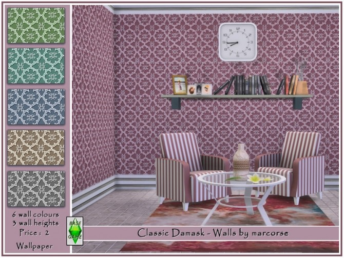 Sims 4 Classic Damask Walls by marcorse at TSR