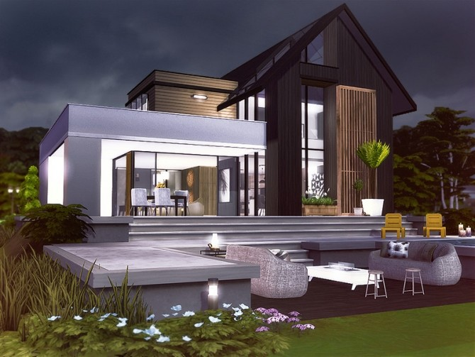Sims 4 Kristen contemporary house by Rirann at TSR