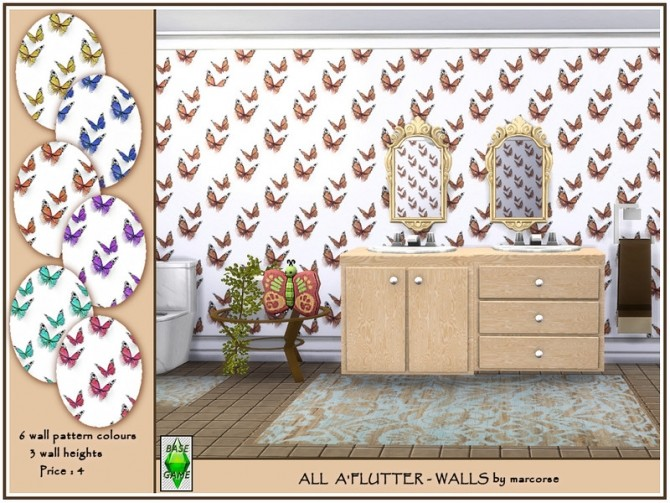 Sims 4 All aFlutter walls by marcorse at TSR