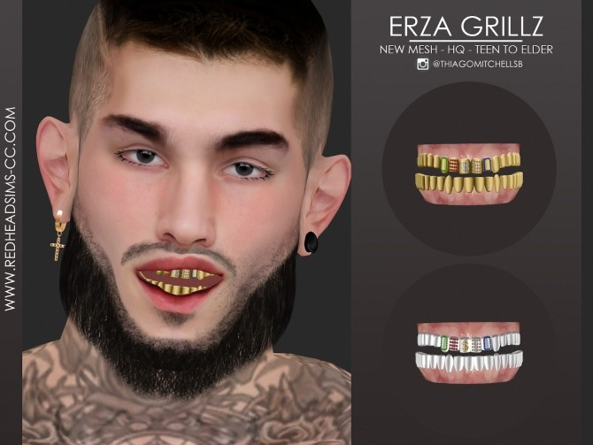 Sims 4 ERZA GRILLZ by Thiago Mitchell at REDHEADSIMS