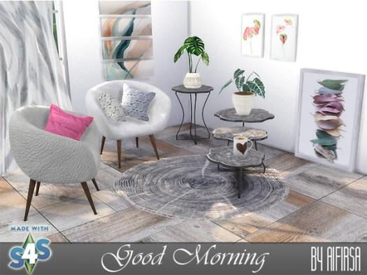 Sims 4 Good Morning set of furniture and decor at Aifirsa