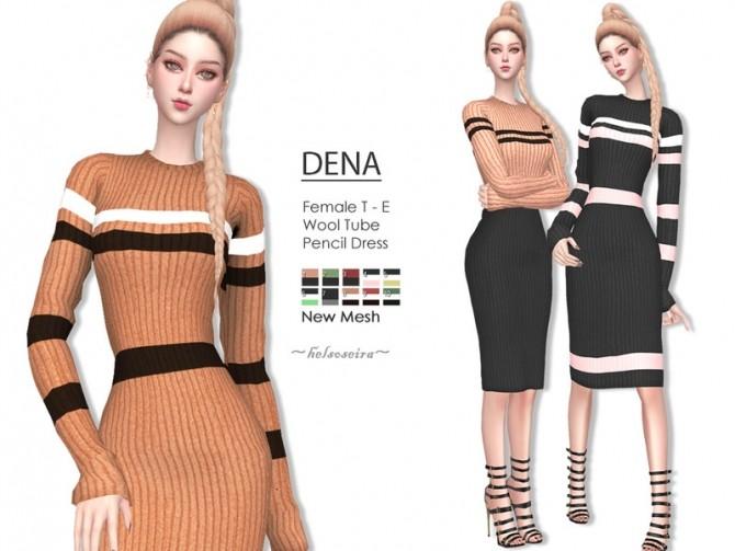 Sims 4 DENA Pencil Dress by Helsoseira at TSR