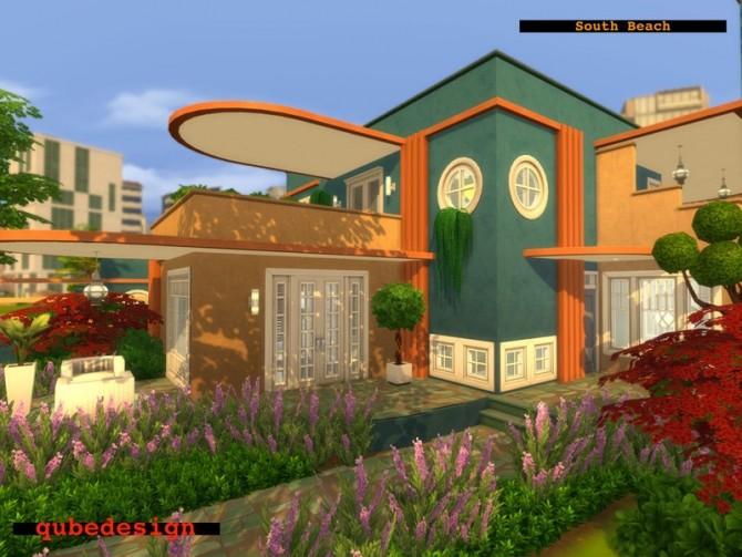 Sims 4 South Beach house No CC by QubeDesign at TSR