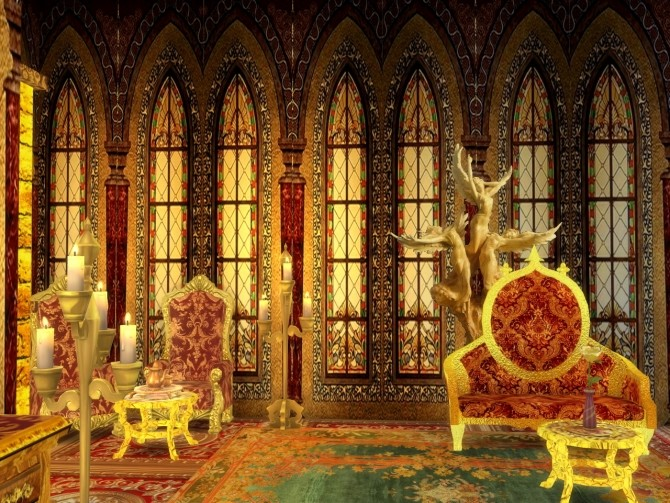 Sims 4 Castle Stained Glass Walls at Anna Quinn Stories