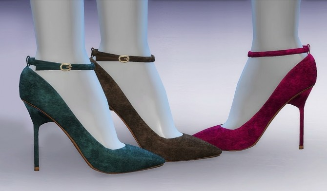 Sims 4 Ankle Strap Suede Pumps at MASIMS