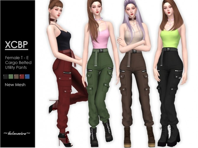 Sims 4 XCBP Belted Cargo Pants by Helsoseira at TSR