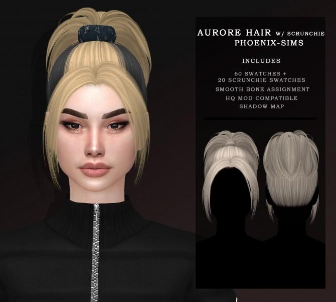Sims 4 AURORE HAIR WITH ACC SCRUNCHIE at Phoenix Sims