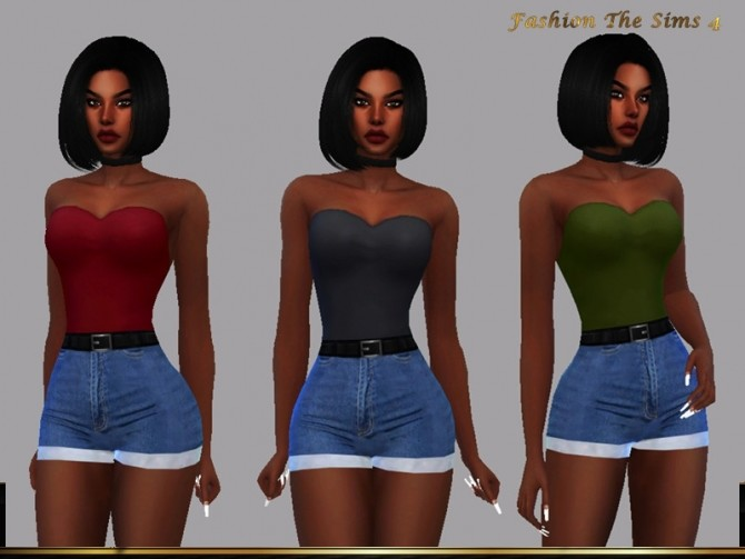 Style Carariny top and short jeans by LYLLYAN at TSR image 1300 670x503 Sims 4 Updates