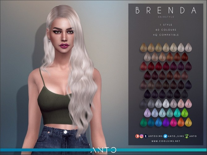Sims 4 Brenda Hairstyle by Anto at TSR