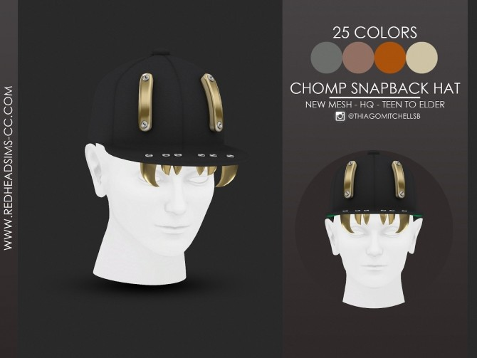 Sims 4 CHOMP SNAPBACK HAT ALL AGES at REDHEADSIMS