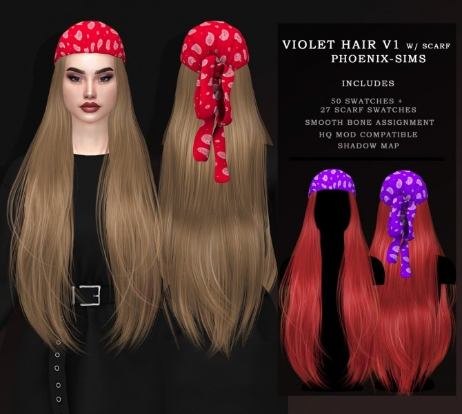 VIOLET HAIR V1 & V2 WITH SCARF at Phoenix Sims image 13213 670x600 Sims 4 Updates