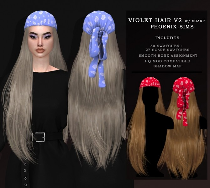 VIOLET HAIR V1 & V2 WITH SCARF at Phoenix Sims image 13310 670x600 Sims 4 Updates