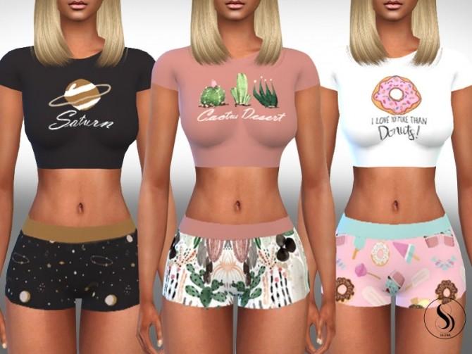 Sims 4 Female Cute Shorts Pyjamas by Saliwa at TSR