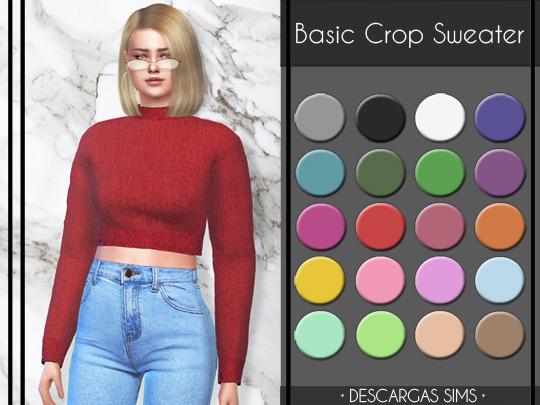 Sims 4 Basic Crop Sweater at Descargas Sims