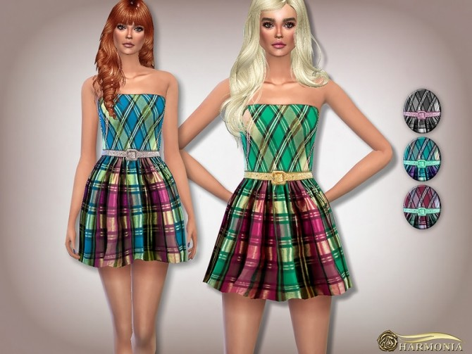 Sims 4 Metallic Plaid Skater Dress by Harmonia at TSR