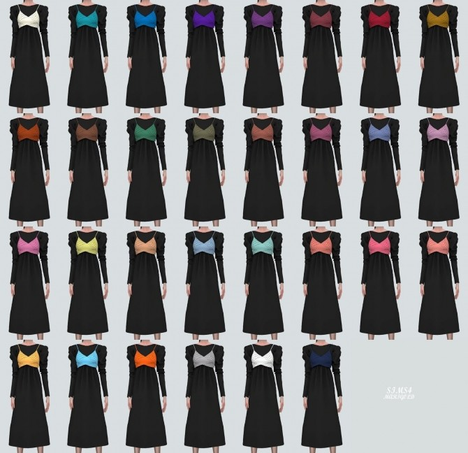 Sims 4 Lace Ribbon Bustier With Long Dress at Marigold