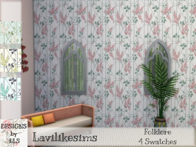 Flower Trellis wallpaper by lavilikesims at TSR image 1370 670x503 Sims 4 Updates