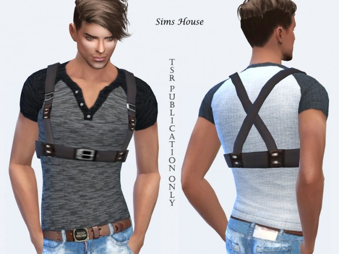 Mens T shirt with a leather belt by Sims House at TSR image 143 670x503 Sims 4 Updates