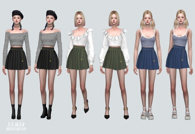 Sims 4 Pleats Skirt With Heart Chain at Marigold