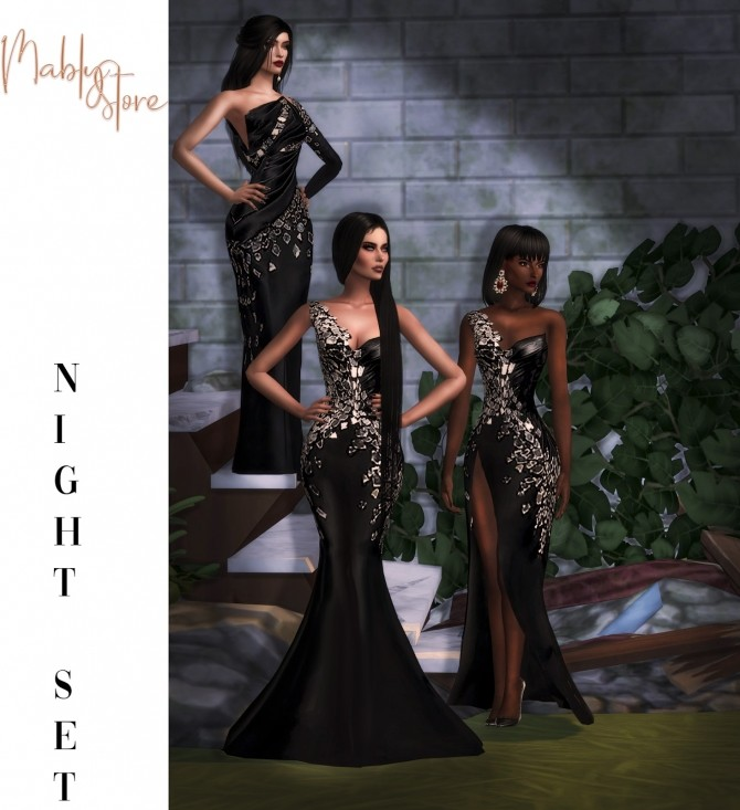 NIGHT Dresses SET at Mably Store image 1444 670x733 Sims 4 Updates