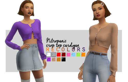 Sims 4 Nitropanic cropped cardigan recolors at Arethabee