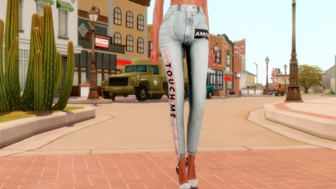 Sims 4 Tube top & Unique jeans at RIMINGs