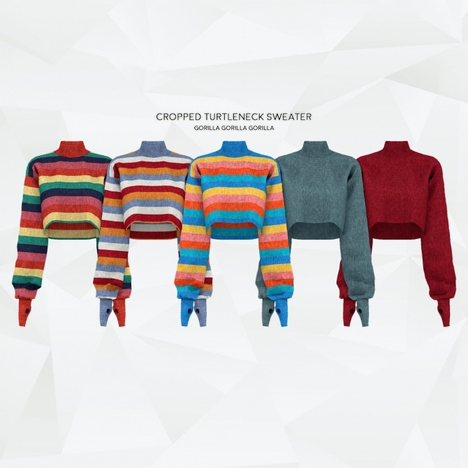 Sims 4 Cropped Turtleneck Sweater at Gorilla