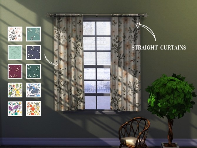 Straight curtains 01 at Celinaccsims image 1543 670x503 Sims 4 Updates