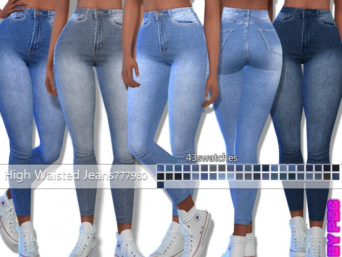 PZC High Waisted Denim Jeans 777980 by Pinkzombiecupcakes at TSR image 15618 670x503 Sims 4 Updates