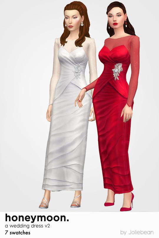 Sims 4 Honeymoon dress in 7 swatches at Joliebean