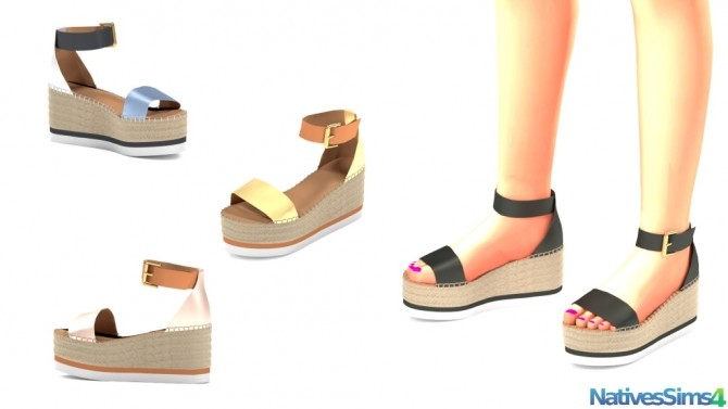 Sims 4 Wedges Espadrille Sandals at Natives Sims 4