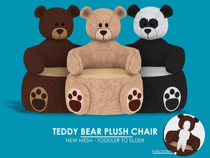 TEDDY BEAR PLUSH CHAIR at REDHEADSIMS image 1621 670x503 Sims 4 Updates