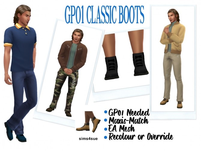 Sims 4 GP01 Classic Boots at Sims4Sue