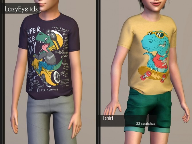 T shirt, Rolled up shorts, Hooded vest & Joggers for boys at LazyEyelids image 16513 670x503 Sims 4 Updates