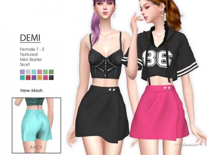 Sims 4 DEMI Mini Skirt by Helsoseira at TSR