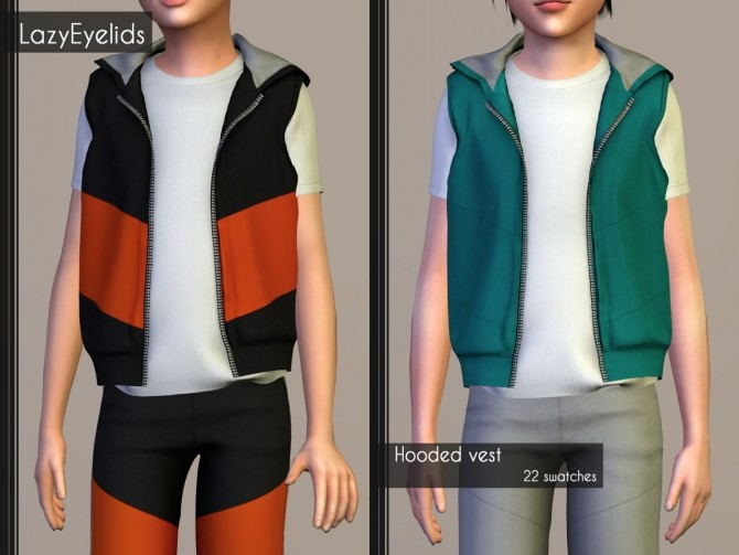 T shirt, Rolled up shorts, Hooded vest & Joggers for boys at LazyEyelids image 16911 670x503 Sims 4 Updates