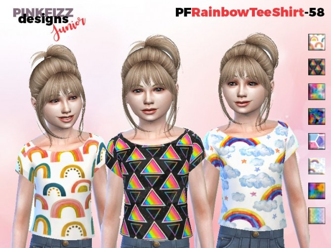 Sims 4 Rainbow Tee Shirt PF58 by Pinkfizzzzz at TSR