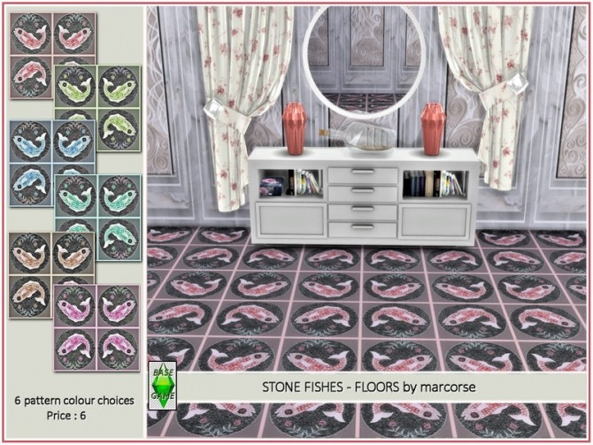 Sims 4 Stone Fishes Floors by marcorse at TSR