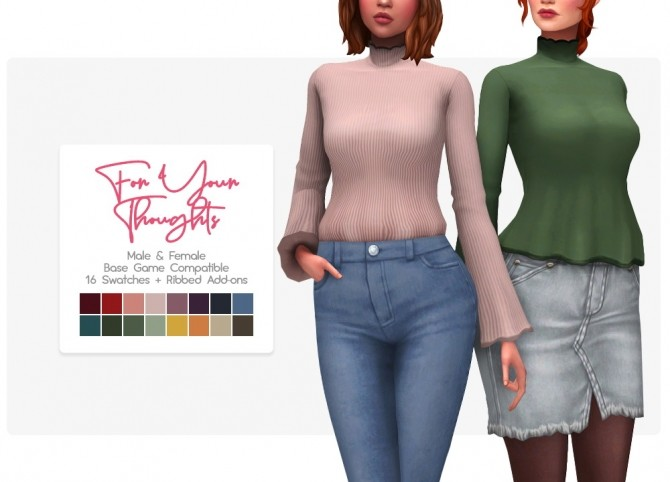Sims 4 For Your Thoughts top tucked + untucked at Nolan Sims