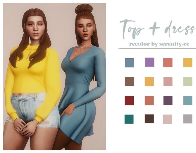 Collar top + kitty dress recolor at GhostBouquet image 17611 670x521 Sims 4 Updates