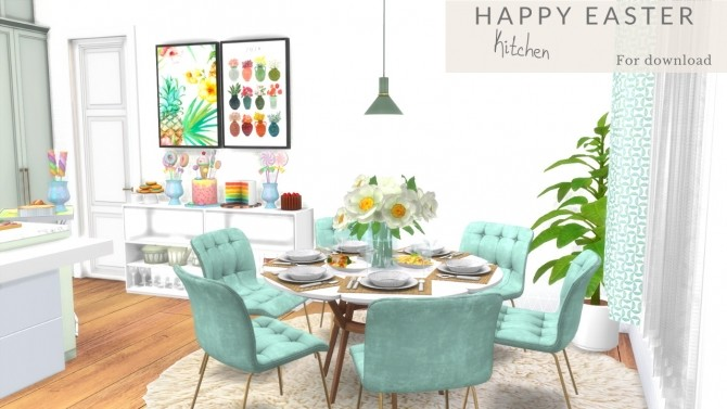 Sims 4 HAPPY EASTER KITCHEN LET´S GO PARTY at Dinha Gamer