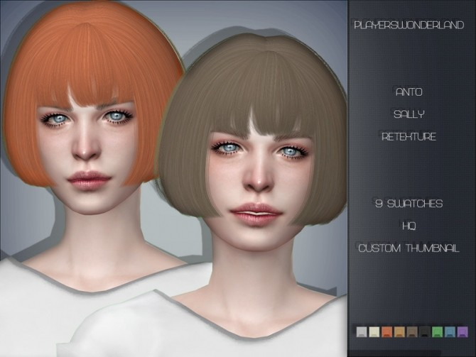 Sims 4 Anto Sally Hair Retexture by PlayersWonderland at TSR